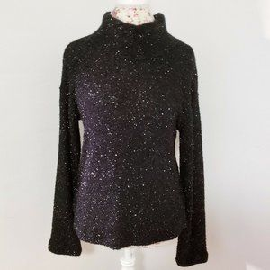 Sanctuary Black Metallic Mock Neck Sweater Small